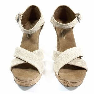 TOMS Natural Canvas Cork Open Toe Wedges
